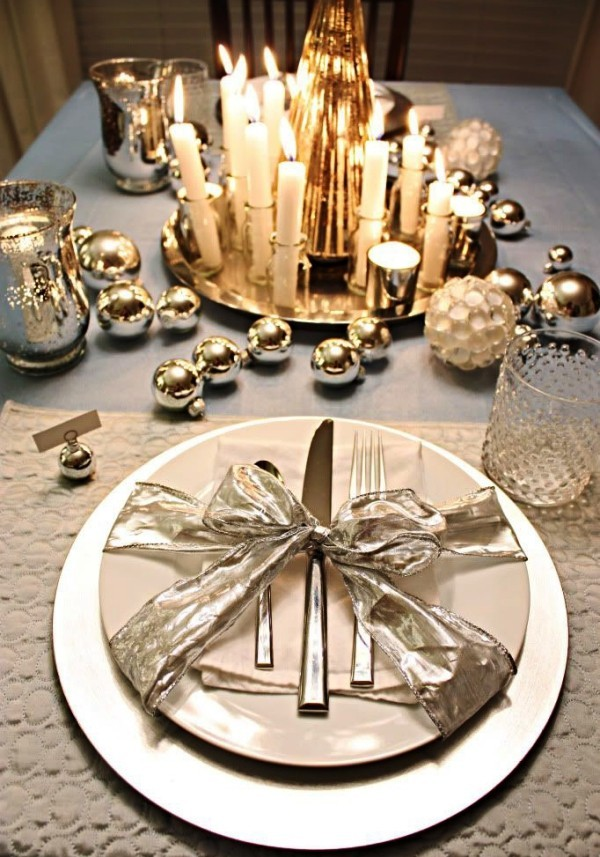 weihnachtliche Tischdeko schleife