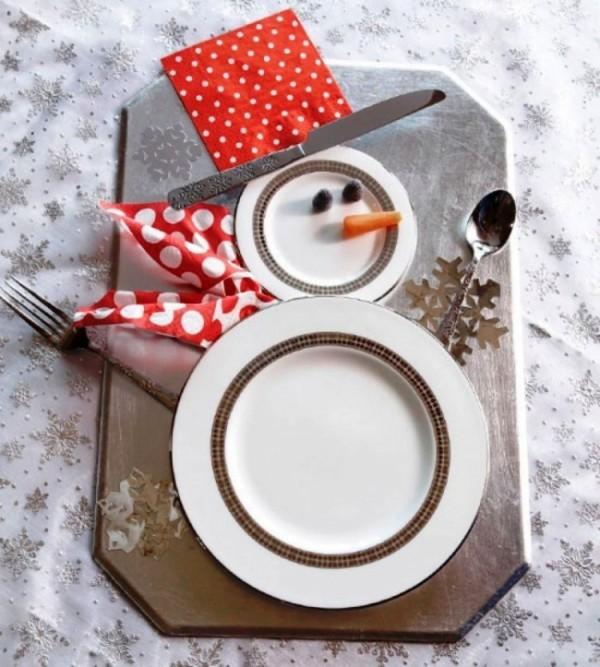 weihnachtliche Tischdeko schneemann