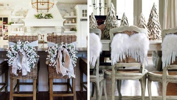 weihnachtliche Tischdeko stühle