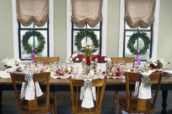 weihnachtliche Tischdeko stühle engel