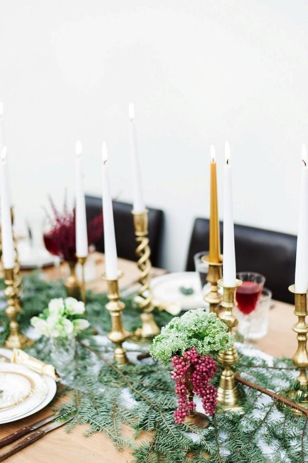 weihnachtliche Tischdeko tannenzweige