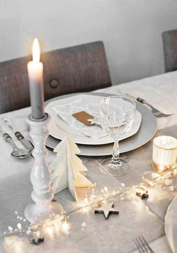weihnachtliche Tischdeko weiß grau