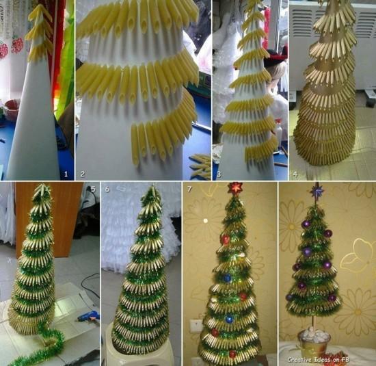 weihnachtsbäume alternativ basteln mit nudeln