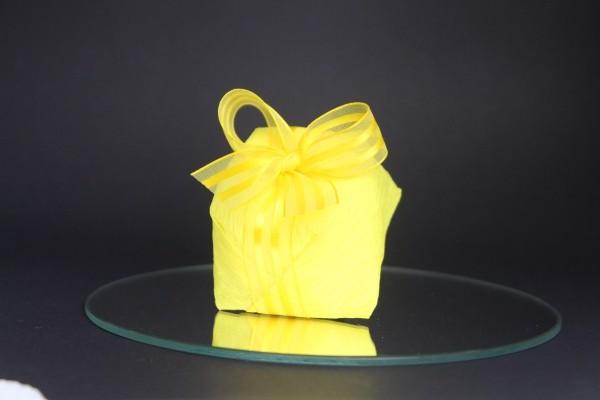 weihnachtsbastelideen gelbe geschenkverpackung