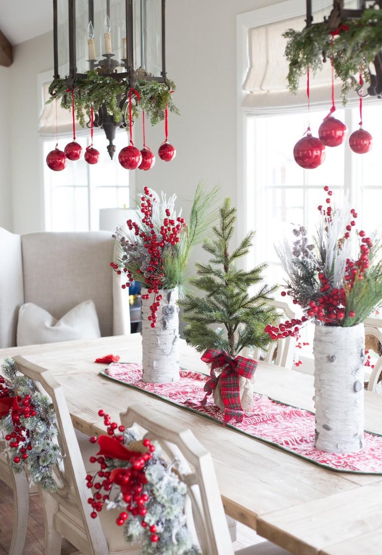 weihnachtsbastelideen klassische einfache tischdeko