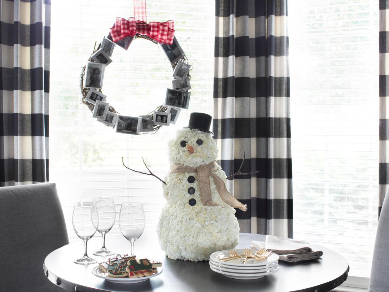 weihnachtsbastelideen schneeman deko