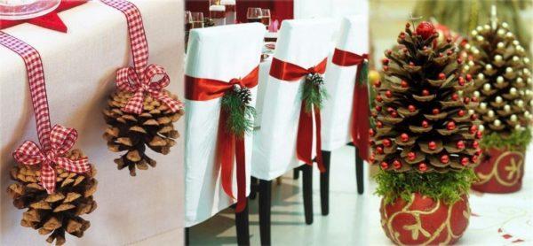 weihnachtsbastelideen verzierung mit eicheln für die stühle