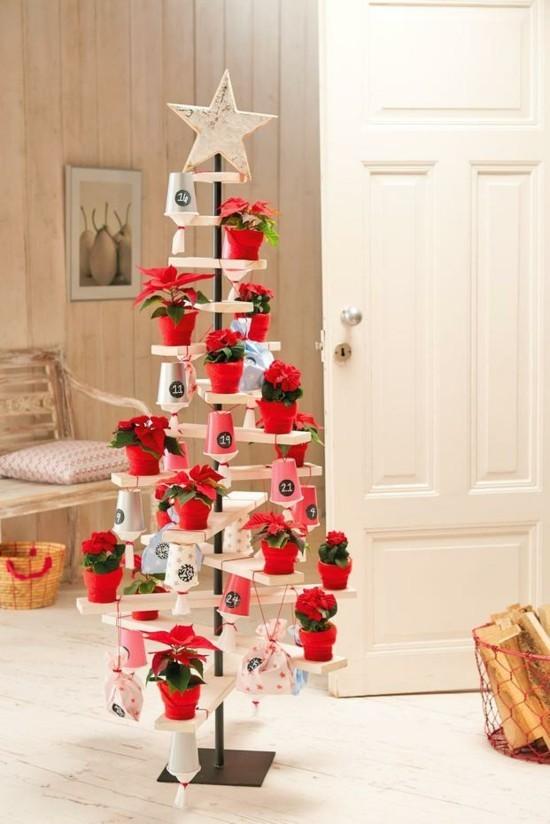 weihnachtsbaum ausgefallene adventskalender selber basteln