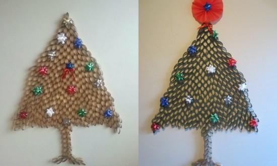 weihnachtsbaum basteln mit klorollen