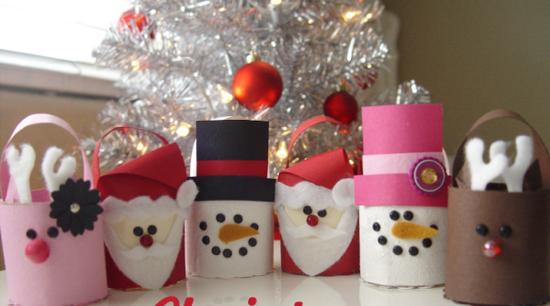 weihnachtsfiguren basteln mit klorollen