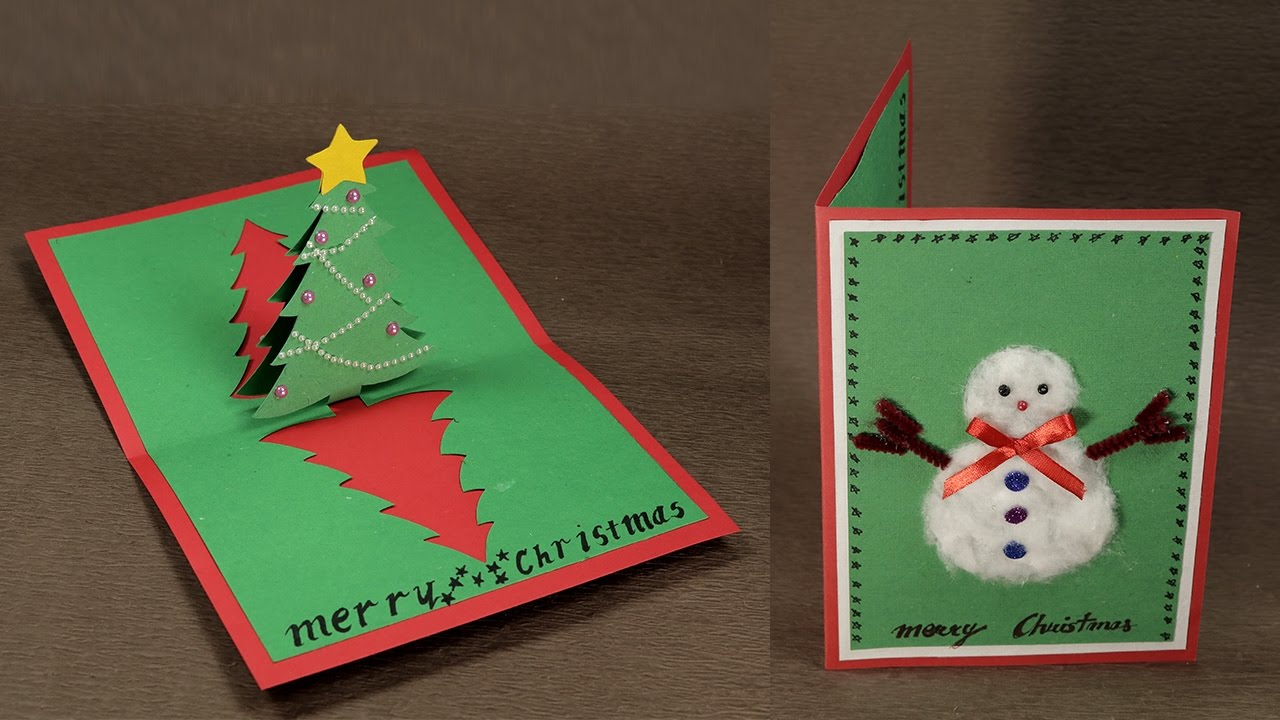 weihnachtskarten basteln 3 d grün rot