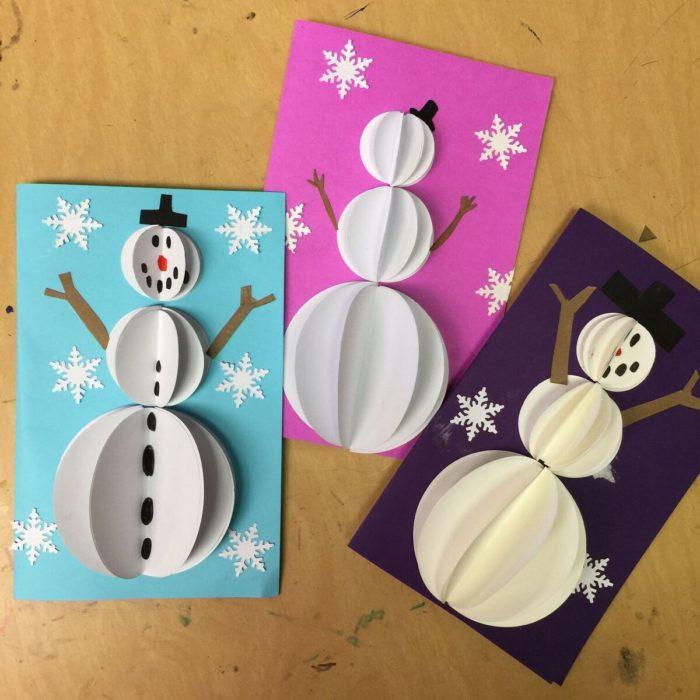 weihnachtskarten basteln drei tolle schneemänner