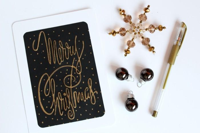 weihnachtskarten basteln feierliche farben