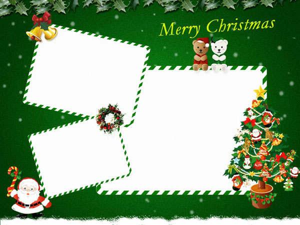 weihnachtskarten basteln gruener hintergrund