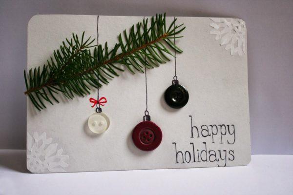 weihnachtskarten basteln ideen mit drei knöpfen