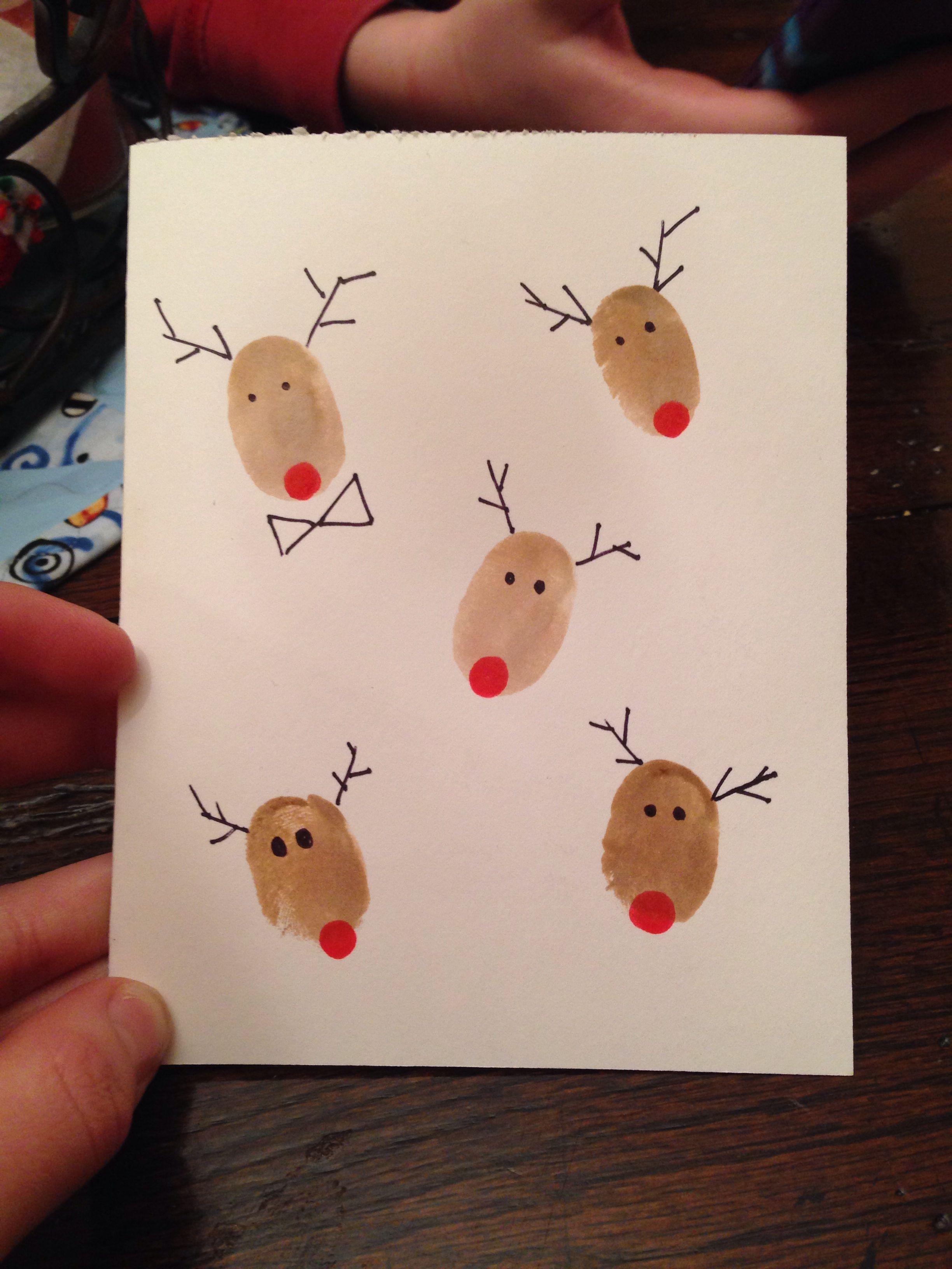 weihnachtskarten basteln mit fingern