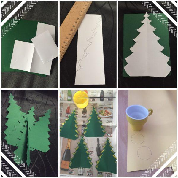 weihnachtskarten basteln mit tannenbäumen mit einer anleitung