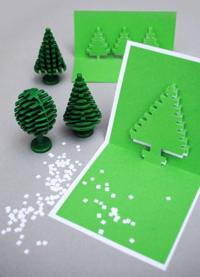 weihnachtskarten basteln verschiedene gruens