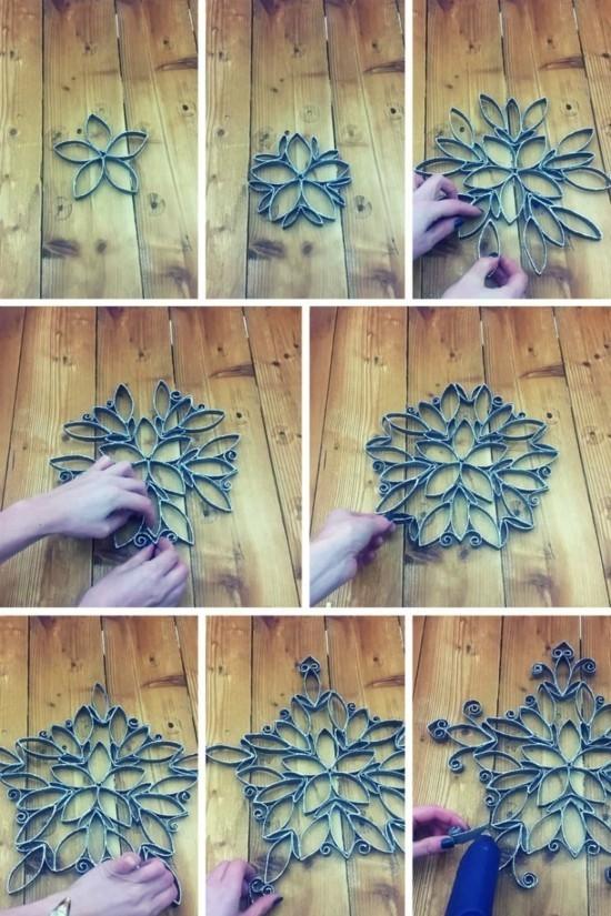 weihnachtssterne basteln mit klorollen