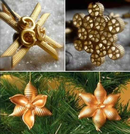 weihnachtssterne basteln mit nudeln gold