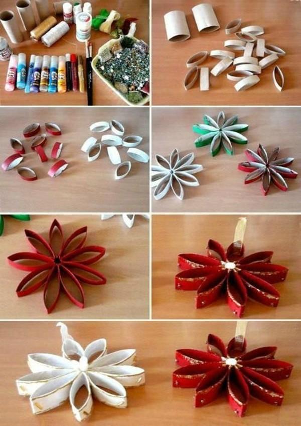 weihnachtssterne mit klorollen ausgefallene weihnachtsdeko selber machen