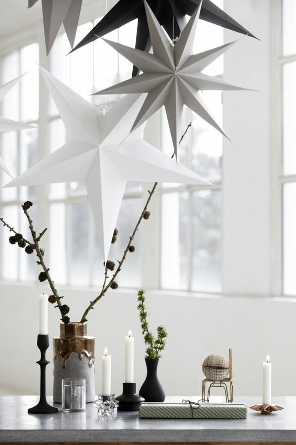 weihnachtssterne papier zapfen tischdeko winter puristisch