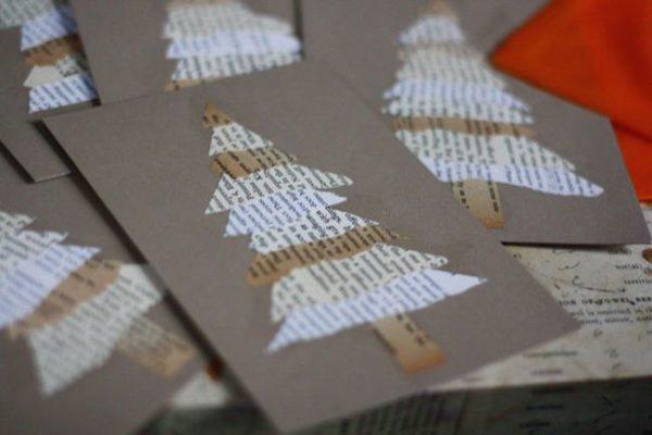 weisse tannenbaume weihnachtskarten basteln
