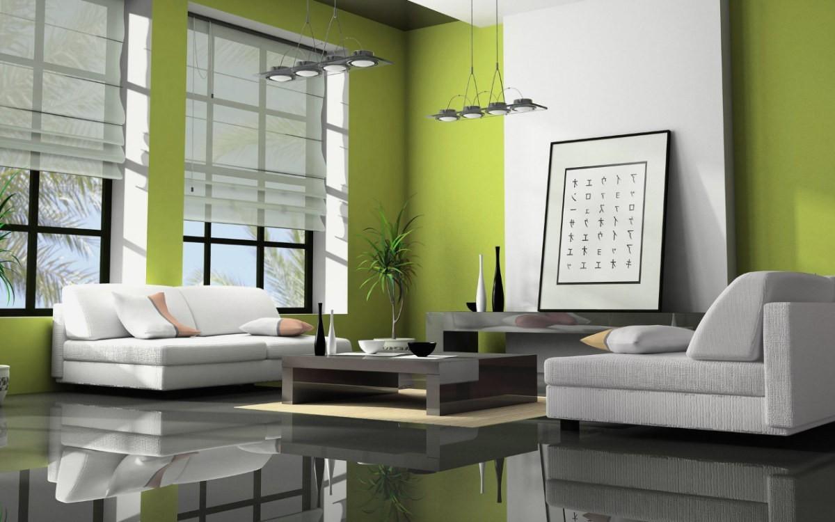 wohnzimmer farben grün für hohe decken