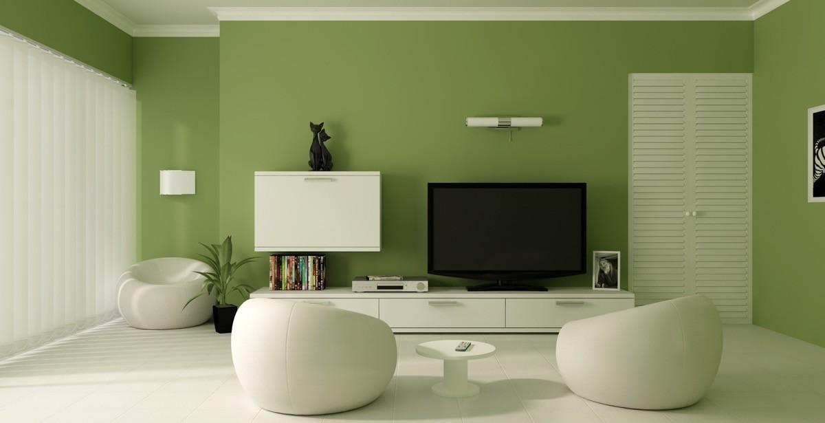 wohnzimmer farben grün und weiß