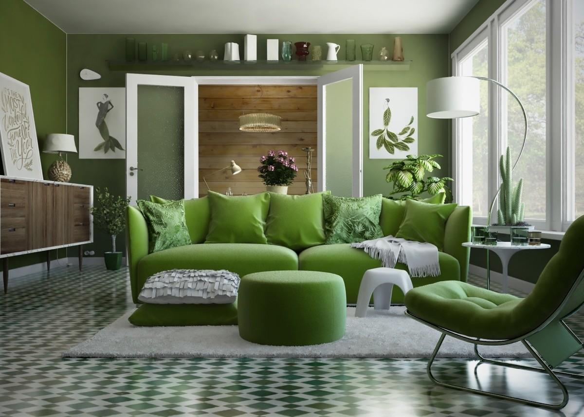 wohnzimmer farben grüne fliesen und möbel