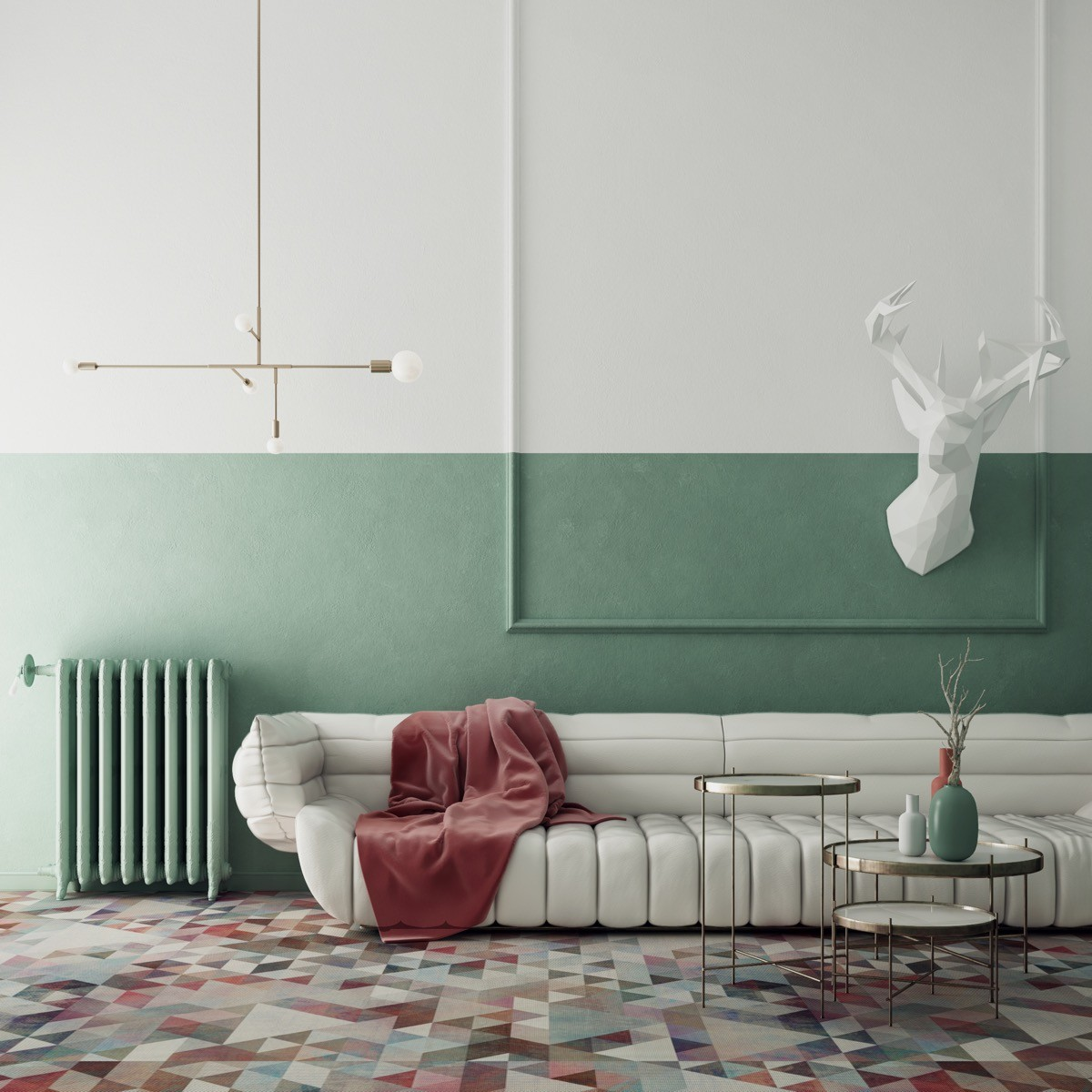 wohnzimmer farben grüne heitung und wände