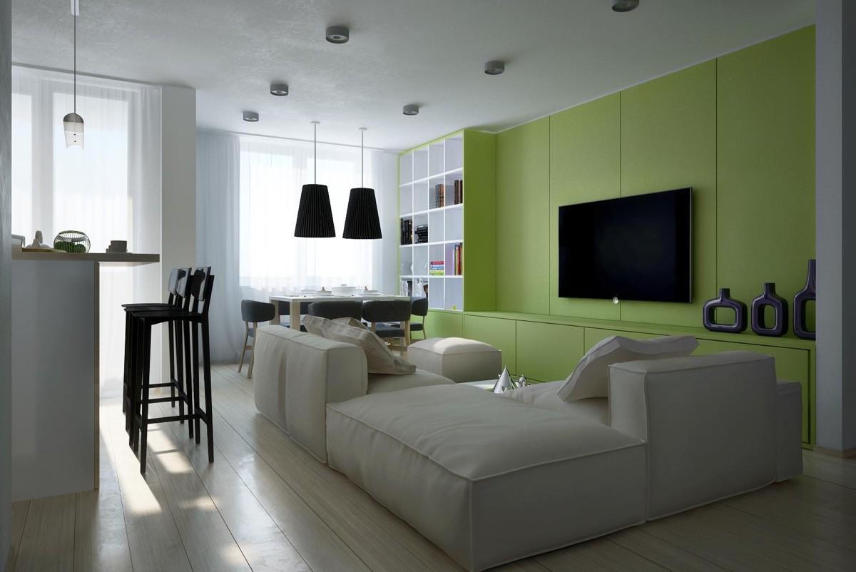wohnzimmer farben grüne medienwand