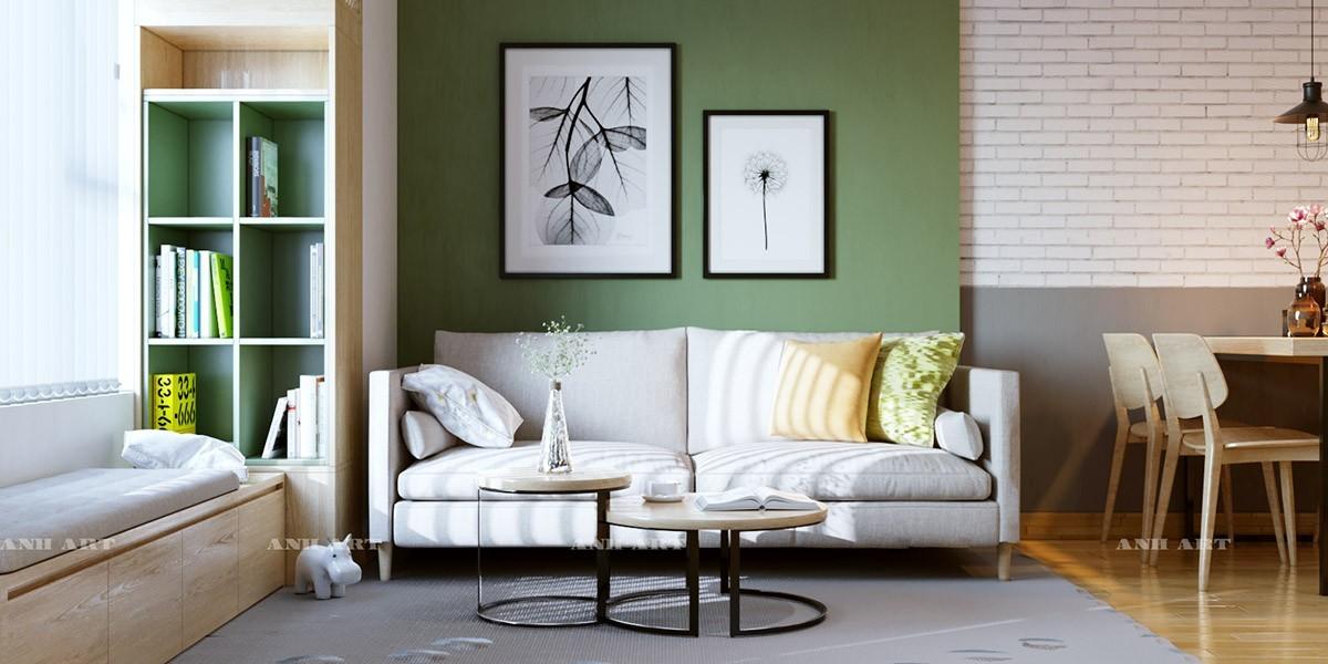 wohnzimmer farben grüne wand mit kusntwerken