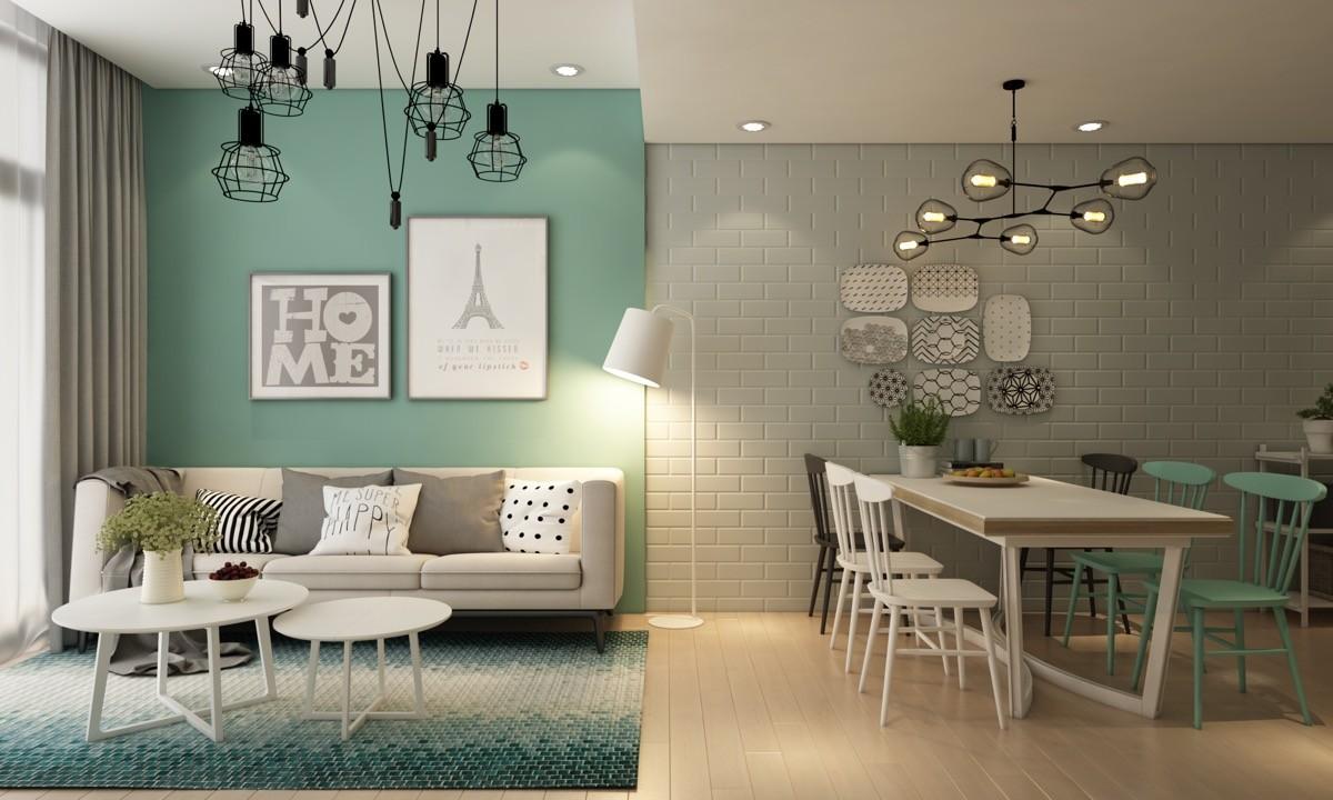 wohnzimmer farben halb grün halb hellbeige