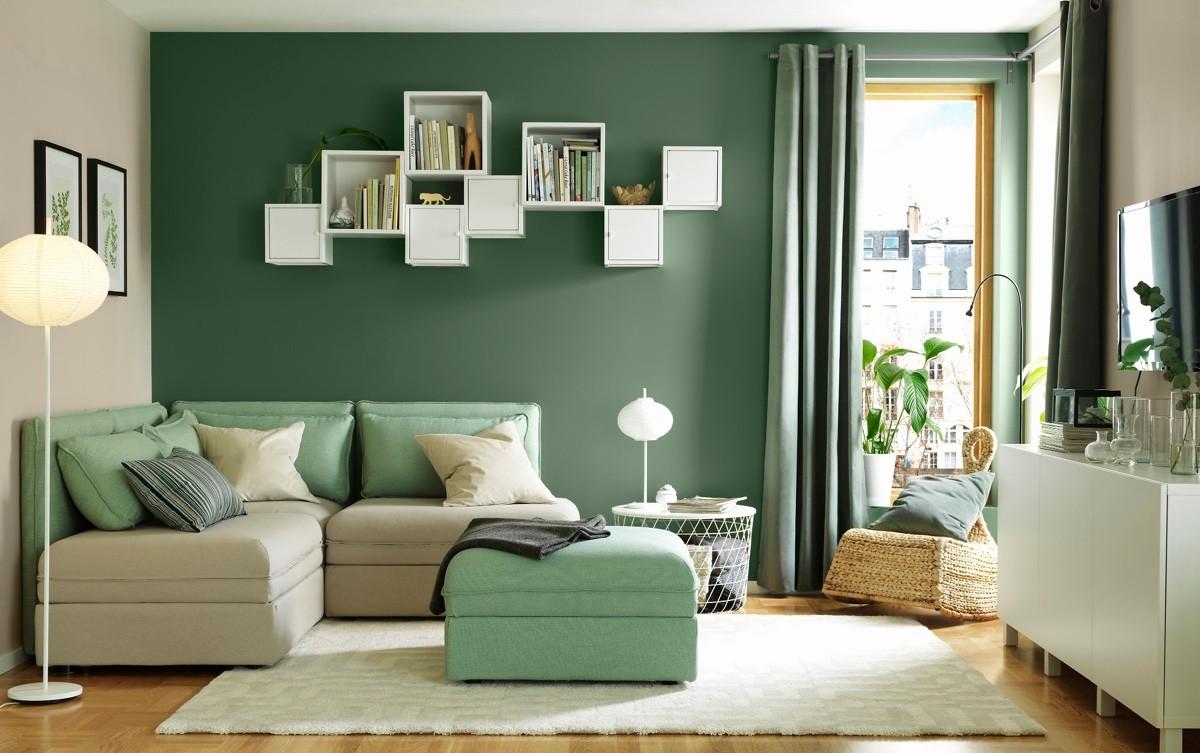 wohnzimmer farben minze mit verschiedener intensität