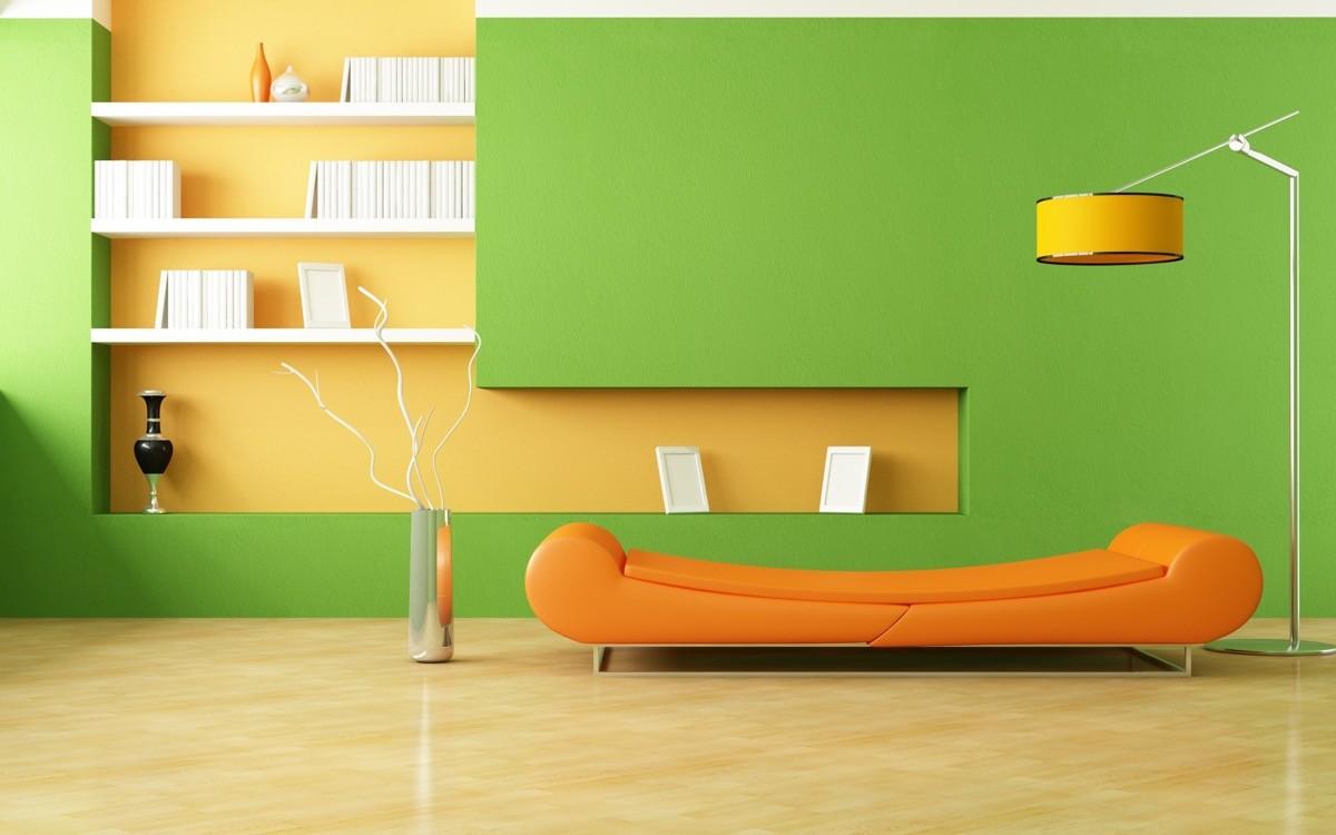 wohnzimmer farben moderne ideen in orange und grün