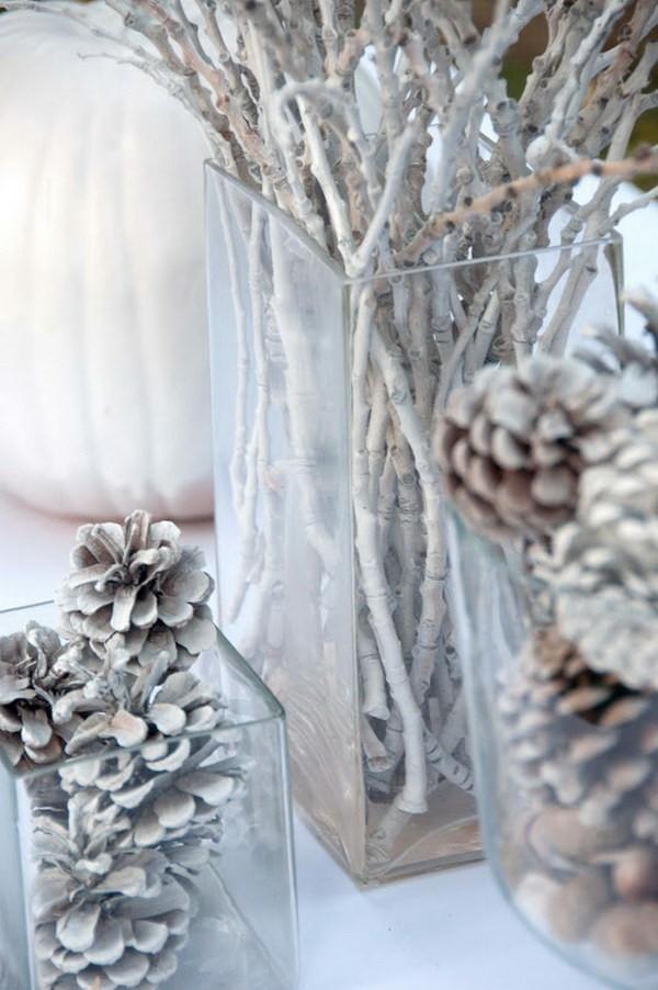 zapfen zweige weiß tischdeko winter