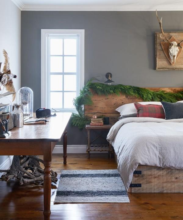 Weihnachten auf dem Lande feiern Schlafzimmer Girlande am Bettkopfteil