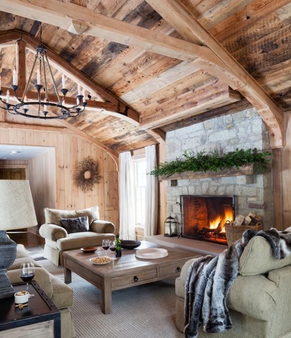 Weihnachten auf dem Lande feiern Wohnzimmer im Landhausstil gemütlich und märchenhaft zugleich