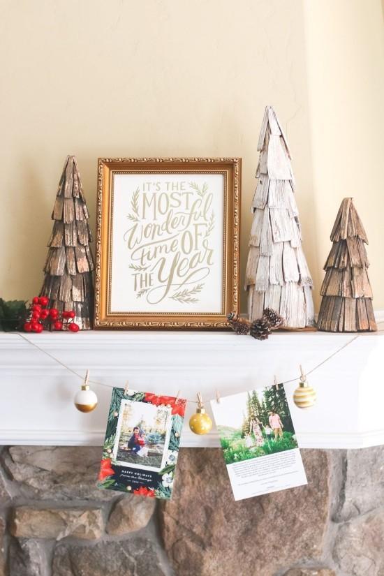 Weihnachtskarten Girlande für den Kaminsims plus Karten