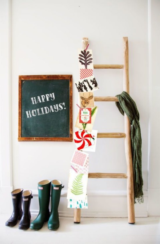 Weihnachtskarten Holzleiter zweite Chance als Deko