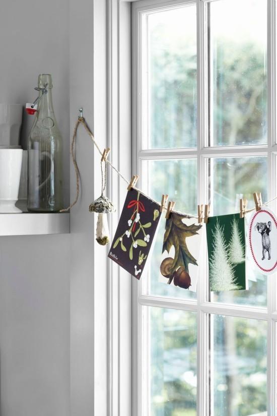 Weihnachtskarten Juteschnur am Fenster Grußkarten und Eicheln