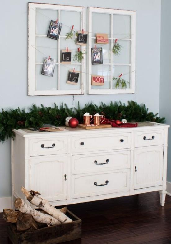 Weihnachtskarten alte Fensterrahmen dekorative Funktion