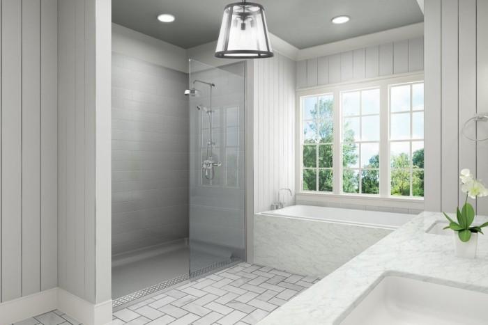 badezimmer decken grau und weiß