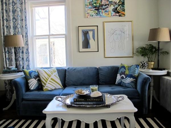 blau und gelbe akzente wohnzimmer ideen trendfarbe