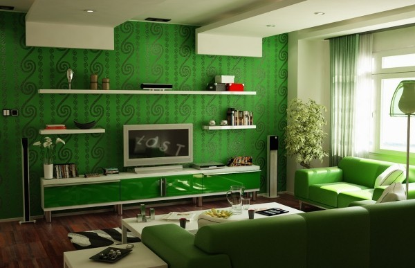 deko ideen grüne wandtapeten