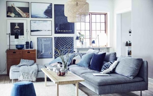 deko ideen grau blaue möbel