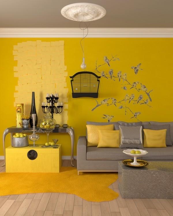 deko ideen mutiges design mit sehr viel gelb