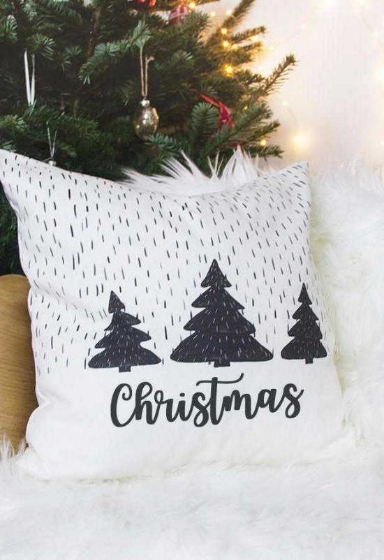 dekokissen weihnachten in schwarz und weiß