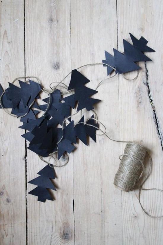 einfache girlande basteln skandinavische weihnachtsdeko